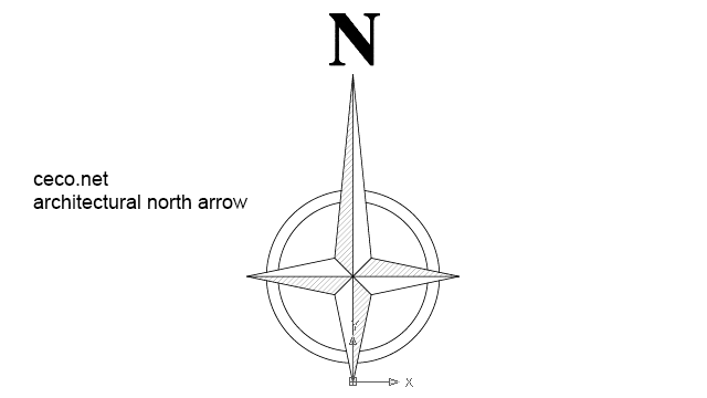 Autocad drawing architectural north arrow 1 dwg dxf