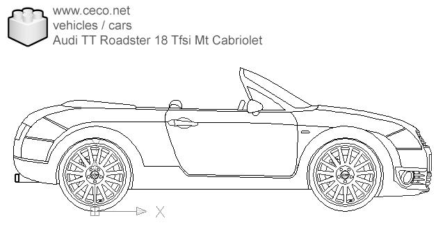 Autocad drawing Audi TT Roadster 18 Tfsi Mt Cabriolet dwg