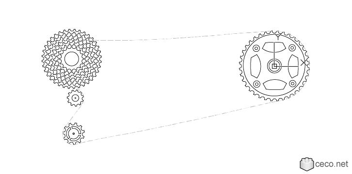Autocad drawing Bicycle drivetrain systems, bike cogwheels