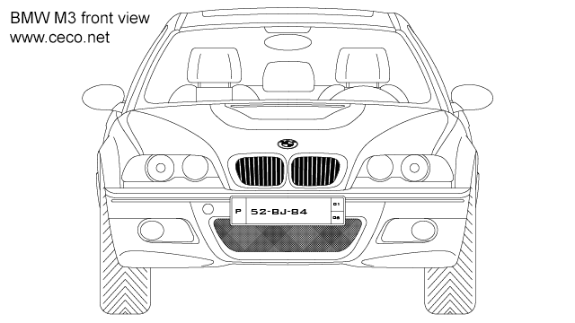 Autocad drawing BMW M3 coupe 3-Series front view dwg