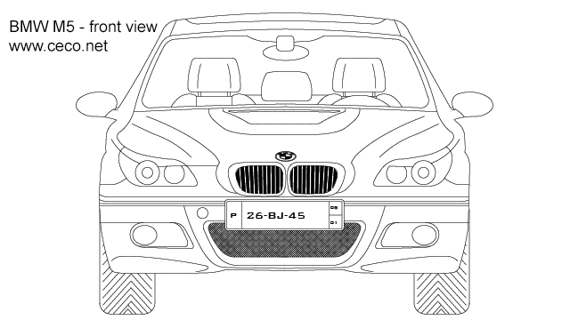 Autocad drawing BMW M5 sedan automobile 5-Series front