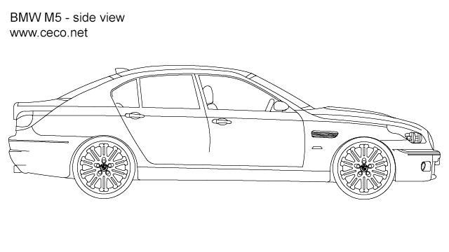 Autocad drawing BMW M5 sedan automobile side view dwg