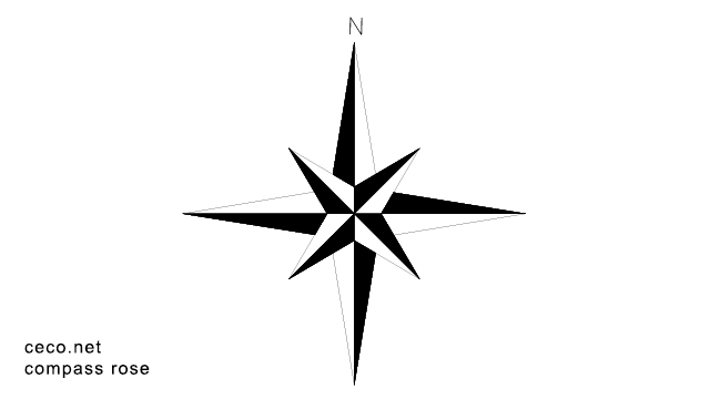 Autocad drawing Compass Rose north arrow dwg dxf