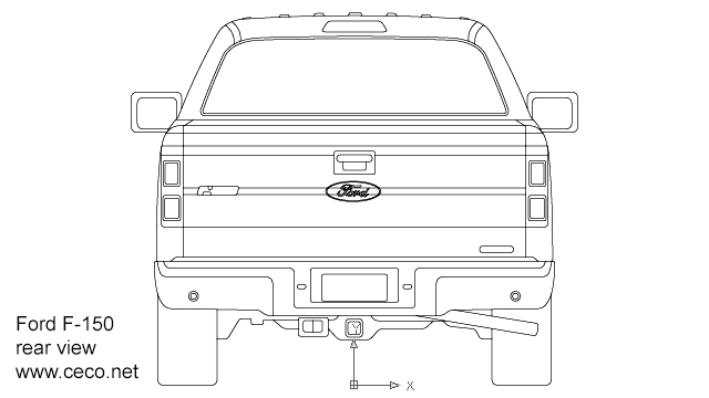 Autocad drawing F150 Ford pick-up regular cab rear view dwg