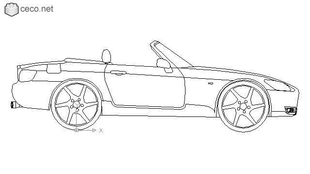 Autocad drawing Honda S2000 roadster dwg
