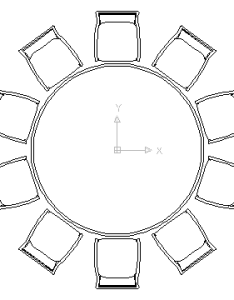 Autocad drawing large round table with chairs for celebrations banquet weddings in furniture also rh ceco