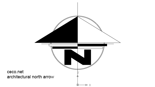 Autocad drawing modernistic north arrow dwg dxf