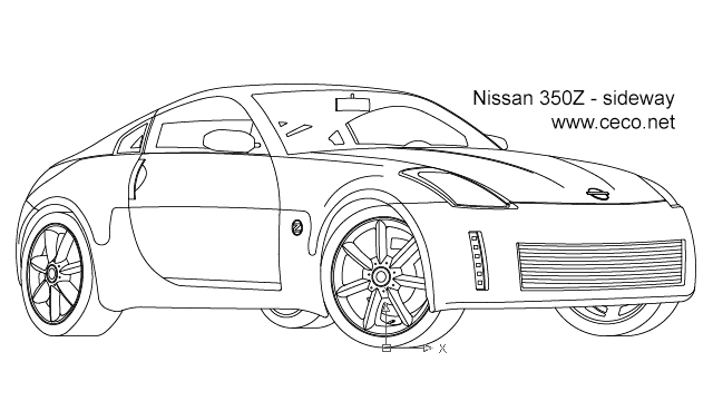 Autocad drawing Nissan 350Z sport car coupe automobile