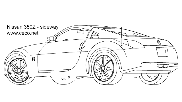 Autocad drawing Nissan 350Z sport car coupe automobile
