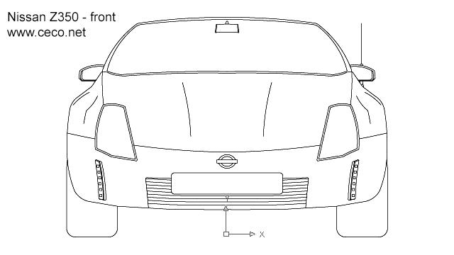 Autocad drawing Nissan 350Z sports car dwg dxf