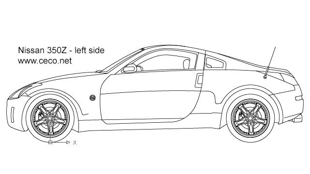 Autocad drawing Nissan 350Z sports car left side dwg