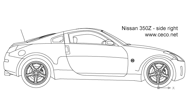 Autocad drawing Nissan 350Z sports car right side dwg