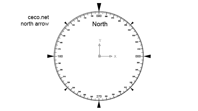 Autocad drawing north arrow 18 circular compass dwg dxf