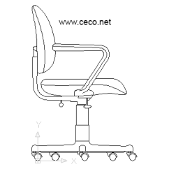 Office Chair Elevation Cad Block Sling Stacking Patio Threshold Autocad Drawing With Wheels Furniture Dwg In