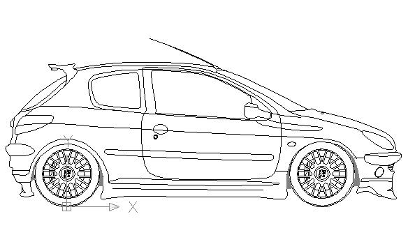 Autocad drawing Peugeot 206 GTi 180 3 doors dwg