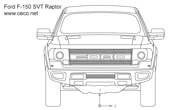 Autocad drawing pick-up Ford F150 SVT Raptor front view dwg