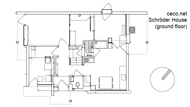 Autocad drawing Rietveld Schroder house in Utrecht
