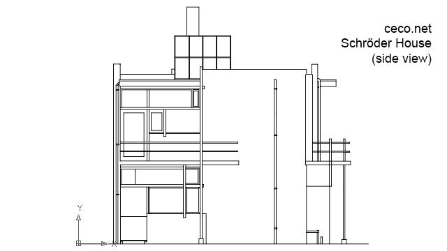 Autocad drawing Rietveld Schroder house Utrecht