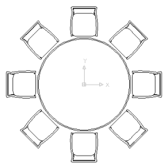 Round Table 8 Chairs Back Massage Chair Autocad Drawing Eight For Lunch Dwg In Furniture