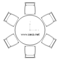 Bedroom Chair Cad Block Teenage Chairs For Bedrooms Autocad Drawing Round Table With Six Lunch Dwg Dxf In Furniture
