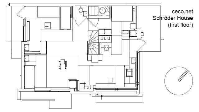 Autocad Drawing Schroder House In Utrecht