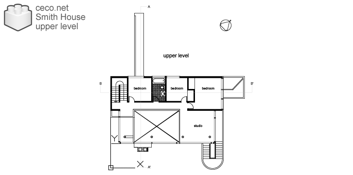 Autocad drawing Smith House upper level second floor