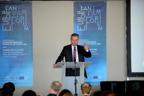 Komisar Günther Oettinger v uvodnem govoru Evropskega filmskega foruma