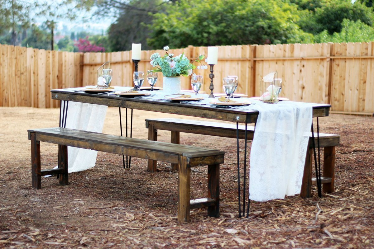 tables chairs rental 2 dining room stretch chair covers hairpin leg farm table rentals san diego modern wood