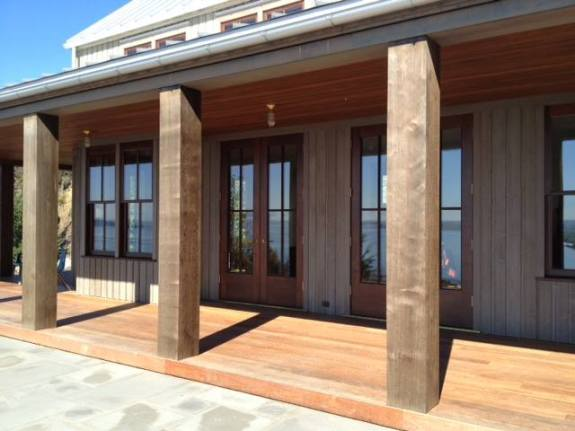 Clear, Western Red Cedar Timbers are used for an entry support