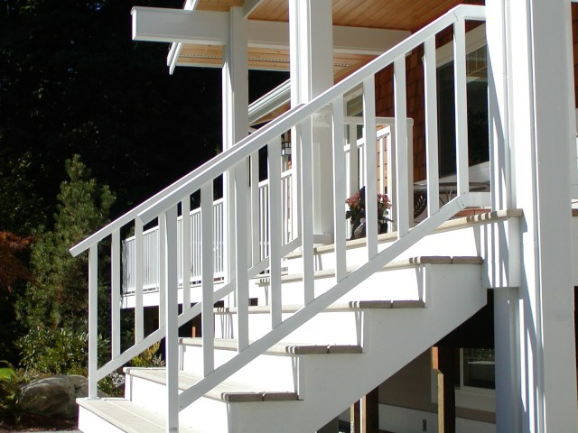 white powder coated aluminum railing system