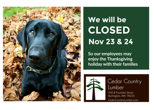 Cedar Country Lumber Thanksgiving Hours