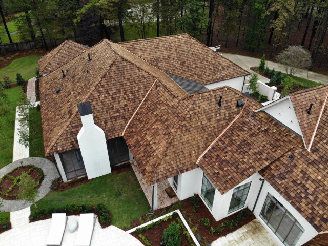 To add longevity to this cedar roof, the cedar shakes were treated with CCA pressure treatment