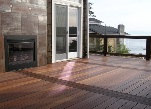 Mahogany decking and outdoor fire place