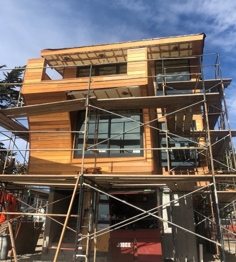 architect spec'd clear western red cedar tongue and groove siding