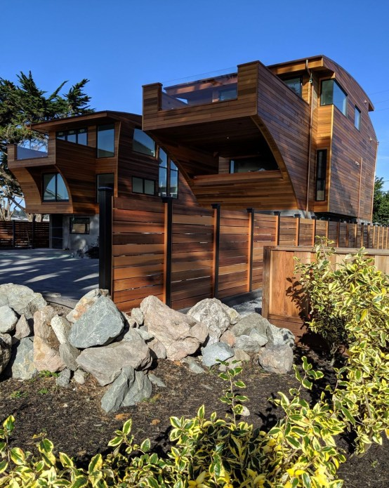 Custom milled clear, vertical grain Western Red Cedar specialty building materials we supplied for a project in Half Moon Bay, Ca include exterior cladding and fencing