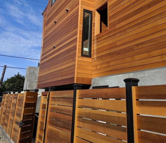 clear vertical grain Western Red Cedar fence and T&G siding