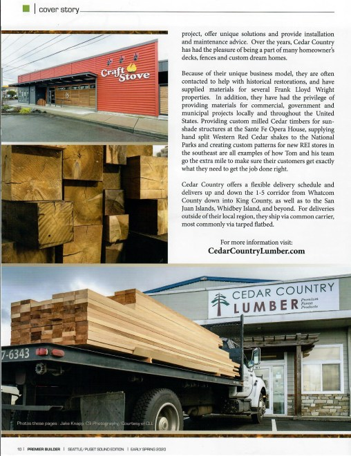 Cedar Country Lumber specialty builder materials dealer was featured in Premier Builder Magazine