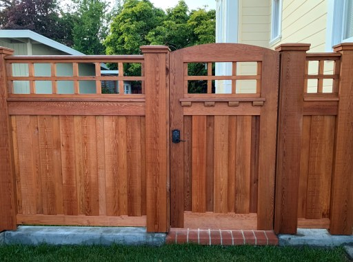 Clear Western Red Cedar crafted privacy fence makes the whole neighborhood happy