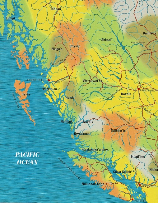 First Nations Map of Northwest Coast