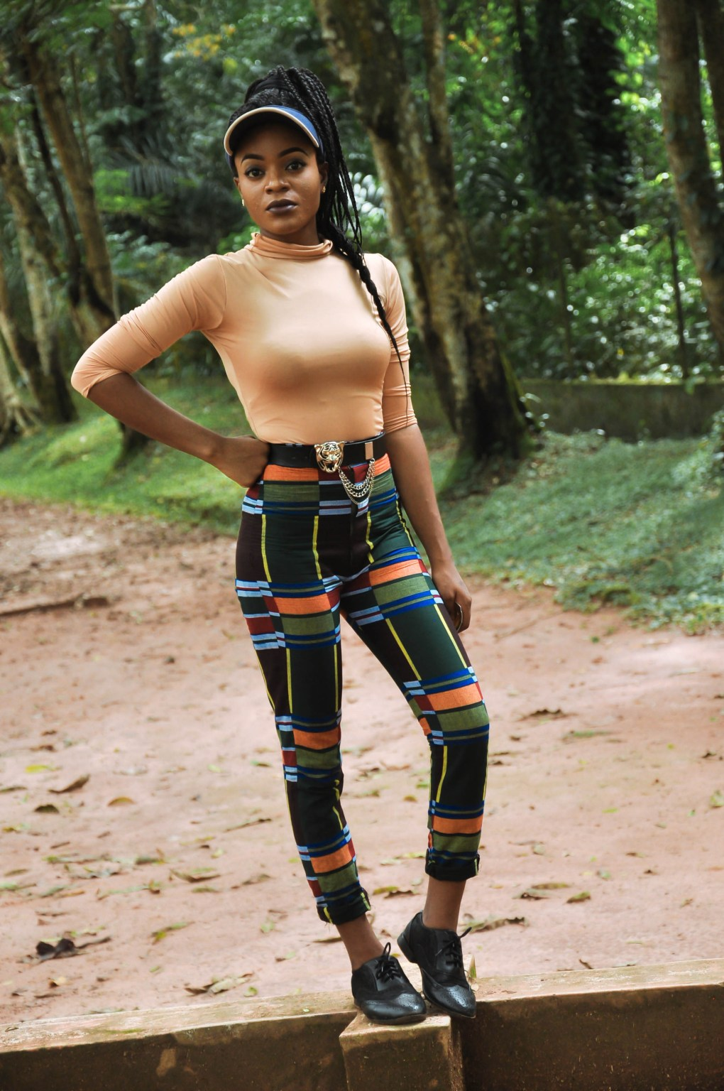 african print pant and nude turtleneck outfit
