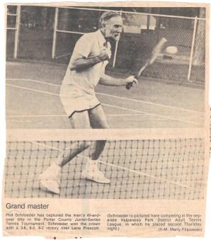 newspaper on tennis Valpo