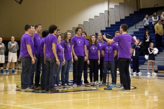 The Inversions, Cedarville University's a capella group, sings the National Anthem before the Lady Jackets' basketball game against Trevecca Nazarene. Photo: Kyria Luxon