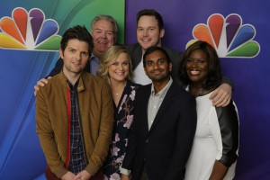 "Cast members of NBC's ""Parks and Recreation"" (left to right) Adam Scott, Jim O'Heir, Amy Poehler, Chris Pratt, Aziz Ansari, and Retta pose  during their 2015 Press Tour."