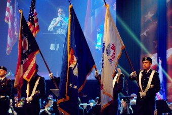 Cedarville students enrolled in ROTC present the colors during Veterans Day Chapel Nov. 11.