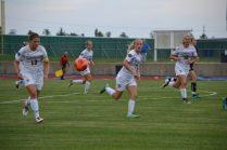 Lady Jackets move the ball upfield on a break. (Photo: Andriana Polsdorfer)