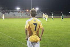 Derek Braak looks at the field from the sidelines. (Photo: Alex Weber)