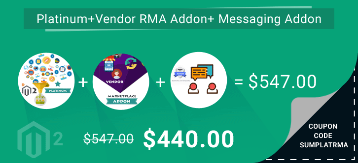 Multi Vendor Marketplace Platinum + Vendor RMA Addon +Vendor Messaging Addon at $440 ( 57% OFF )| Coupon Code – SUMPLATRMA