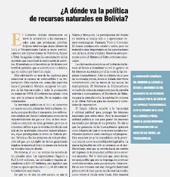 ¿A dónde va la política de recursos natuarles en Bolivia? Editorial Petropress 28 (6.12)