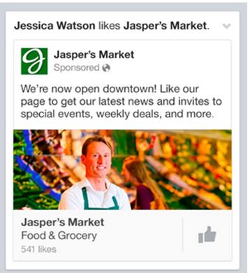 Capture d'écran publicité facebook
