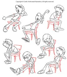 poses reference drawing pose tired animation chair character project sketchbook exercise sitting posing cedricstudio cartoon sketch bored kickstarer upcoming behance